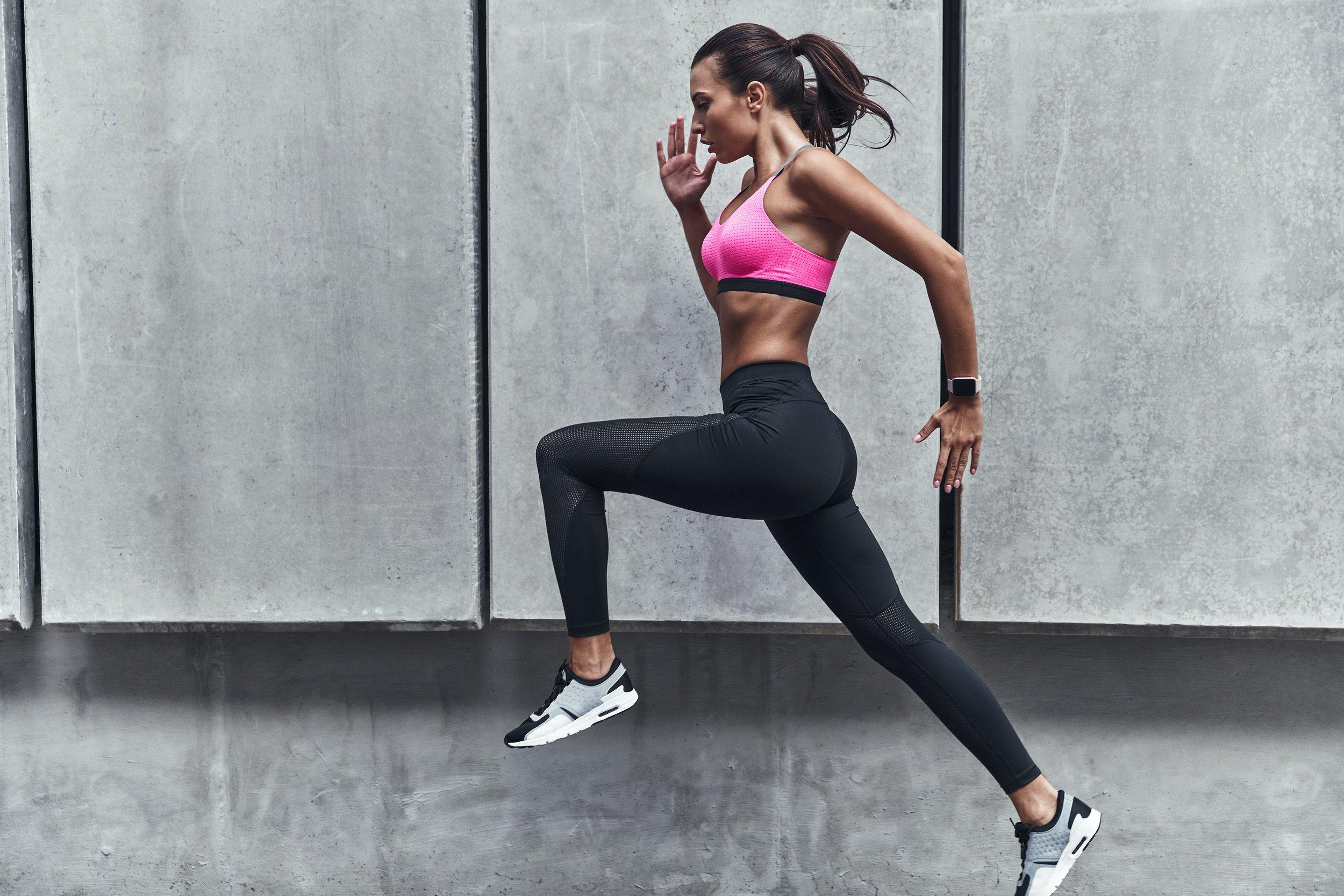 Woman running in sportswear